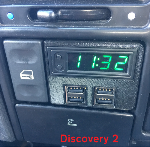 Land Rover Discovery 2 Multi-function USB Clock Kit - GREEN LED